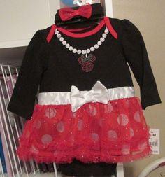 Infant Dress, Disney Minnie Mouse Dress, Size 6/9 Mos, LS w/ Sparkle, Head Band #Disney #DressyEverydayHoliday