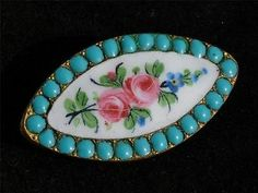 "Beautiful Antique 1 2"" Hand Painted Enamel Turquoise Button 