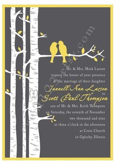 Possible wedding invite- maybe in green or blue. From etsy