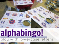 alphabingo: playing with lowercase letters -- includes link to printables