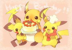 PikaBirthday! Pichu, Raichu, Pikachu (by 夢 モカ@ラブコレし07, Pixiv Id 422305)