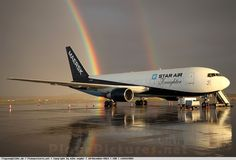 Foto Star Air Boeing 767-232(BDSF) OY-SRL Mirror Image, Airports, Airplane, Reflection, Photographers, Aircraft, Stars, Planes, Airplanes