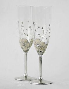 Copas de boda hecho a pedido copas de Champagne por NevenaArtGlass