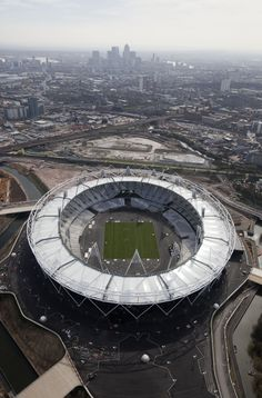 Main stadium for the London Olympic Games, 2012, Canary Wharf in the background, London