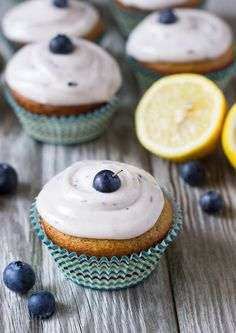 Lemon Cupcakes with Fresh Blueberry Icing | Made with gluten-free quinoa and almond flour + naturally sweetened with honey!