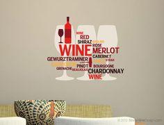 Wine lovers printed vinyl wall art decoration.. $19.95, via Etsy.