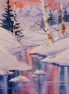 Winter Creek Painting by Teresa Ascone
