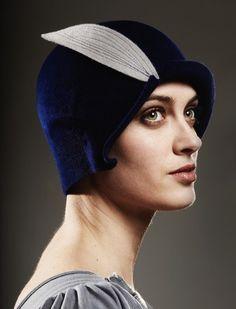 velvet blue cloche hat