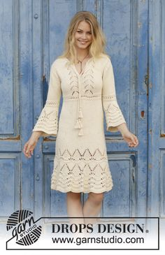 Love Story - Knitted dress with lace pattern and ¾ sleeves. Size: S - XXXL Piece is knitted in DROPS Paris. - Free pattern by DROPS Design Lace Knitting, Knitting Patterns Free, Knit Patterns, Dress Patterns, Knit Crochet, Knit Skirt, Knit Dress, Lace Dress, Drops Design