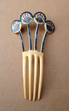 Art Deco Egyptian Revival Hair comb with Multi Colour Enamel and Rhinestones, 1900 – 1920s