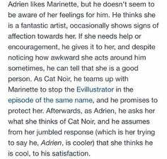 "no no no, he heard that she said Adrien was cooler than Chat Noir, which is why he said, ""So, that's a yes?"" and patted her shoulder. He was smiling and walking away because it was like an inside joke with himself-he is Chat Noir, but Adrien is cooler, so he is cooler than himself."