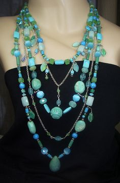 Turquoise Statement Necklace Multistrand
