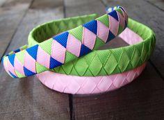 Pink Headband | Lime Green Headband | Set of 3 Coordinating Grosgrain Ribbon Headbands - Royal, Green, and Pink by PetiteBelleFleur on Etsy