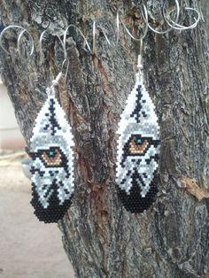 Native American Made Beaded Wolf Eye Earrings.