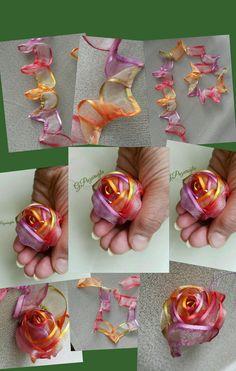silk ribbon embroidery designs and techniques Satin Ribbon Roses, Fabric Roses, Ribbon Art, Fabric Ribbon, Ribbon Crafts, Flower Crafts, Scrap Fabric, Satin Flowers, Ribbon Embroidery Tutorial