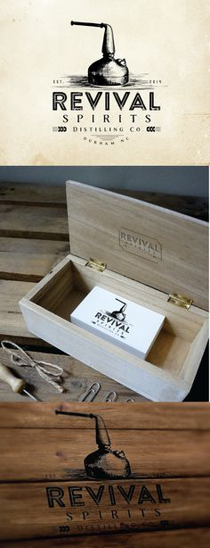 Old School craft distillery logo for Revival Spirits Distilling Co. - like the stamp that they could pull out for the box and the stamped look - maybe not so much with the in pen drawing for us personally (since we might want a part to stencil)