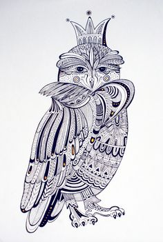 "Owl by me ""The Queen of the owls"" Drawing, Illustration, Print Design https://www.behance.net/gallery/Owl-by-me/10445861"
