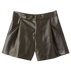 Pink Queen Green Pretty Womens Elastic Waist Pleated Leather Shorts ($27) ❤ liked on Polyvore featuring pinkqueen, shorts and green