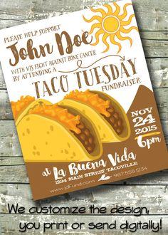 "TACO TUESDAY ~ Cancer Fundraiser Flyer ~ Business Event ~ 5""x7"" Invitation or 8.5""x11"" Poster by DitDitDigital on Etsy"