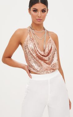 3c55815f9411c6 Rose Gold Cowl Neck Sequin Chain Crop Top. Birthday Outfit For Women21st ...