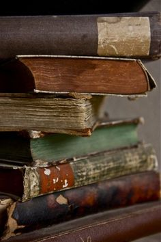 Old books are special. They're different than these new books about vampires and the world ending. just good hearted books about life and what it really does to us. Old Books, Antique Books, Rustic Books, I Love Books, Books To Read, Book Art, La Danse Macabre, World Of Books, I Love Reading