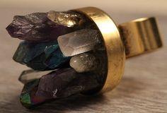 Architectural Titanium Crystal Quartz Amethyst Citrine Points Ring Druzy Boho Statement Antique Gold Silver by crystalelements1 on Etsy https://www.etsy.com/listing/228198425/architectural-titanium-crystal-quartz