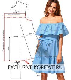 Выкройка платья с открытыми плечами на резинке