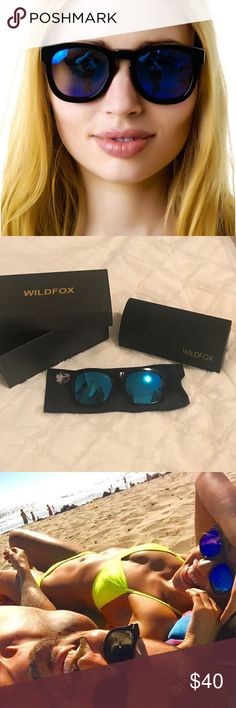 Wildfox Classic Fox Blue Mirrored Sunglasses A classic frame with a fun twist! A few scratches which I️ show in the close up photo. Great for everyday wear! Comes with box and duster. Wildfox Accessories Sunglasses