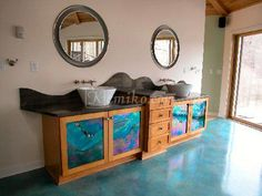 13 Stunningly beautiful beach house apartment with sea color for your dream room Stained Concrete, Concrete Floors, Peacock Blue Bedroom, Hot Tub Room, Neoclassical Interior, Fantasy Bedroom, Sea Colour, Color Inspiration, Home Remodeling