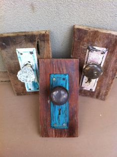 Repurposed door knobs - hang on the wall and would make cute jacket hooks
