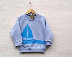 Image of Sailboat crewneck sweatshirt, little kids/youth
