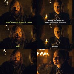 The Hound and Sansa. Episode Season Game of Thrones. : The Hound and Sansa. Episode Season Game of Thrones. Game Of Thrones Jokes, Got Game Of Thrones, Sansa Stark, Movies Showing, Movies And Tv Shows, The Hound And Sansa, Got Jon Snow, The North Remembers, Got Memes