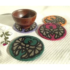 Bat Hanji Paper Coasters, Traditional Korean Design, Handmade... ($26) ❤ liked on Polyvore featuring home, kitchen & dining and bar tools