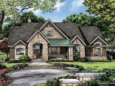 EUROPEAN COTTAGE – PLAN OF THE WEEK - HousePlansBlog.DonGardner.com – European Cottage - The Baskerville #1312 is our plan of the week under 2500 sq ft. With three bedrooms and an open floor plan, the home lives large. #dreamhomeplan #dreamhouseplan #homeplan