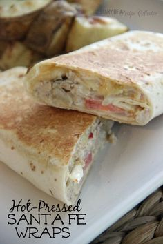 Hot-Pressed Santa Fe Wraps-Hot and melty wraps filled with chicken, pepperjack, sauteed onions, tomatoes, and a mexi-ranch sauce…yum Kitchen Recipes, Gourmet Recipes, Mexican Food Recipes, Dessert Recipes, Cooking Recipes, Healthy Recipes, Healthy Meals, Healthy Eating, Crockpot Recipes