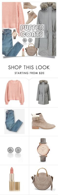 """Puffer Coat"" by branqa ❤ liked on Polyvore featuring H&M, Phase Eight, Everlane, Sole Society, FOSSIL, L'Oréal Paris and Chloé"