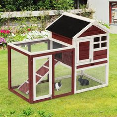 PawHut Wooden Rabbit Hutch Backyard Bunny Cage Small Animal House w/ Ladder and Outdoor Running Place Brown Rabbit Hutch Plans, Large Rabbit Hutch, Rabbit Hutches, Rabbit Cages Outdoor, Outdoor Rabbit Hutch, Indoor Rabbit House, Diy Bunny Cage, Bunny Cages, Diy Bunny Hutch