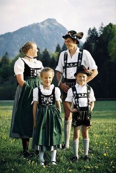 Germany & Austrian  Typical dirndl skirted pinafores for the women and lederhosen for the men. @  http://fashion.allwomenstalk.com