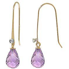 Amethyst and Diamond Drop Earrings 1.35ctw in 9ct Gold #Gemstones #Jewellery #GemstoneJewellery