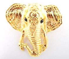 Ladies Gold #Elephant Face #Brooch & Pin #Pendant