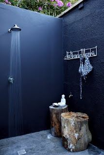 Like the wood stools for our outdoor shower