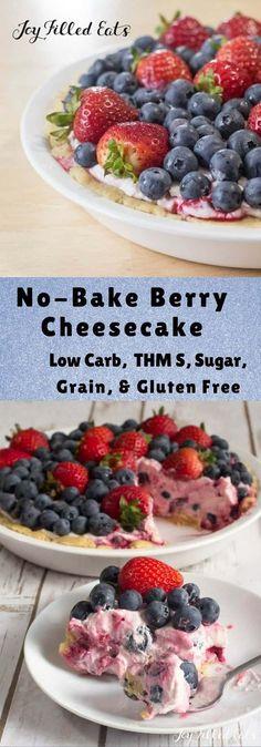 No-Bake Berry Cheesecake - Low Carb, Grain Gluten Sugar-Free, THM S