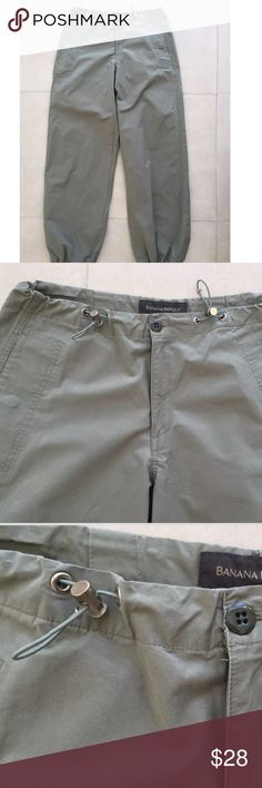 Banana Republic Cargo Drawstring Waist Hem Pants Drawstring Waistband  Button Zip Front Closure  2 Front Side Pockets  1 Back Snap Pockets  Waist 30, Hips 40, Inseam 32 and Rise 10  Shell 100% Cotton  Machine Washable and Line Dry    Please let me know if you have any questions.  Thank you for looking!!!!!!! Banana Republic Pants