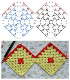 How-to make a Granny Square Curtain Dear friends, I've promised . : How-to make a Granny Square Curtain Dear friends, I've promised on Saturday I'd post a how-to for the bathroom curta… Crochet Curtain Pattern, Crochet Garland, Crochet Lace Edging, Crochet Curtains, Crochet Borders, Filet Crochet, Joining Crochet Squares, Granny Square Crochet Pattern, Crochet Diagram