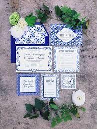 blue china pattern wedding invitation