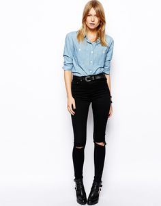 Ridley High Waist Ultra Skinny Jeans in Clean Black with Busted Knees from ASOS | StyleSpotter
