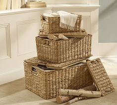 Savannah Lidded Baskets | Pottery Barn -- would like one (or two) of the medium size, will fit perfectly on a shelf in our bedroom