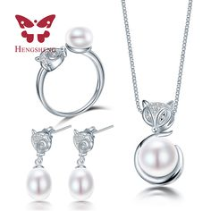 HENGSHENG Fox Animal Necklace Earring Ring Jewelry Set for Women Pendant jewlry packaging box