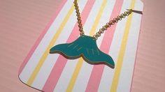Collier nageoire de sirène bleu et doré : Collier par magalily