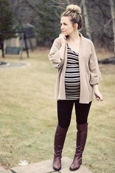 maternity street style. Minus the sweater & boots... Too hot for that now!